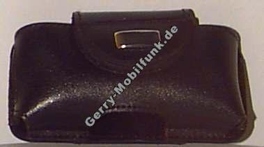 Ledertasche schwarz quer für Samsung X600 Quertasche