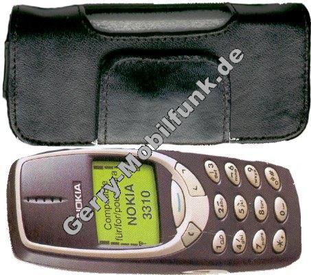 Ledertasche schwarz quer für Nokia 3310 Quertasche