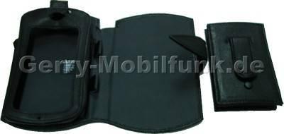 Ledertasche 2 teilig schwarz für Trium Mondo. Bestehend aus Klapp-Etui und zusätlichem Gerätehalter
