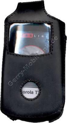 Exclusiv-Ledertasche schwarz mit Dreh-Gürtelclip für Motorola T720 aus hochwertigem extradickem Leder