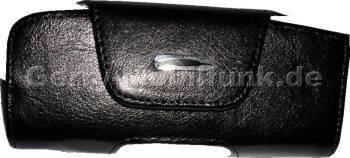 Ledertasche schwarz quer für Nokia 3660 mit Klettverschluß Quertasche