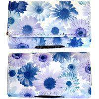Ledertasche quer Ericsson T66 Sonnenblume blau Ladyline mit Magnetverschluß ohne Gürtelclip