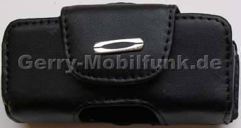 Ledertasche schwarz quer für SonyEricsson J230i Quertasche aus Leder mit Gürtelclip und zusätzlicher Sicherungsschlaufe